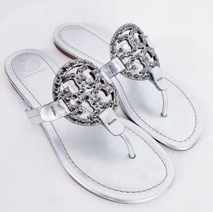 Tory Burch Miller Embellished sandals -Silver s 7